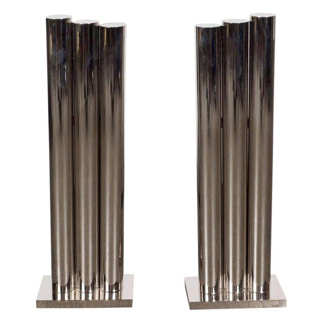 Custom Modernist Tubular Polished Nickel Andirons For Sale