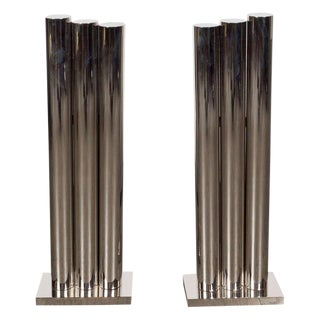 Custom Modernist Tubular Polished Nickel Andirons, Manner of Karl Springer
