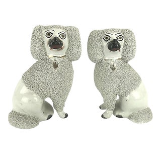 Regency Clay Staffordshire Poodle Dog Statuettes/Bookends - a Pair