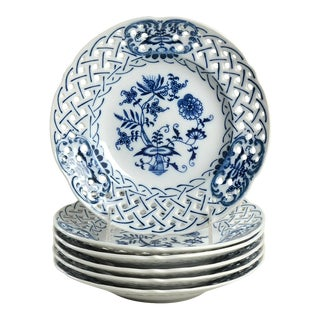 Blue Danube (Japan) Blue Danube Pierced Edge Salad Plate - Set of 6 For Sale