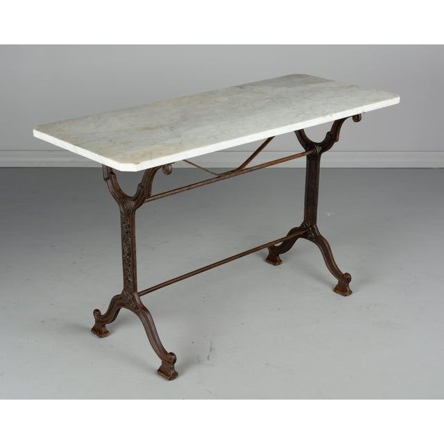 White 1920s Antique French Cast Iron Marble Top Bistro Table For Sale - Image 8 of 8