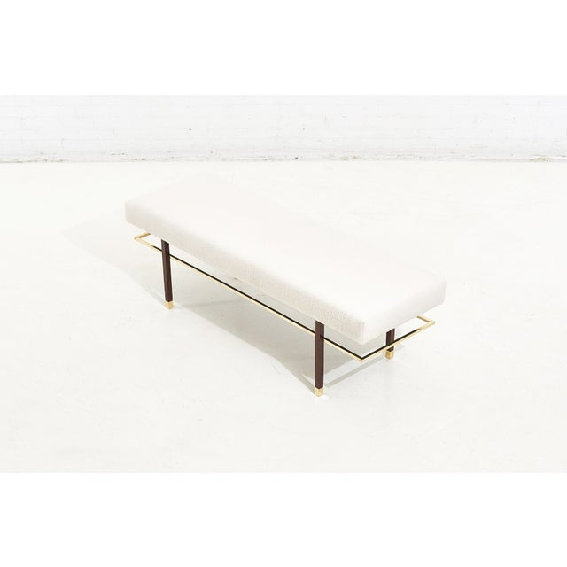 Mid-Century Modern Harvey Probber Brass Frame Bench in White Boucle, 1950 For Sale - Image 3 of 7