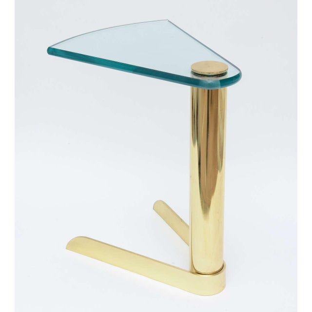 Pace Sculptural Brass & Glass Wedge Side Table - Image 4 of 4