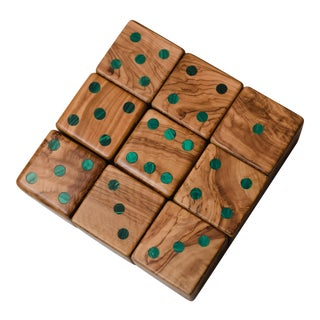 Small Olive Wood and Malachite Dice - Set of 9 by Marcela Cure For Sale