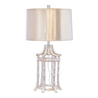 Bamboo Table Lamp in Silver For Sale