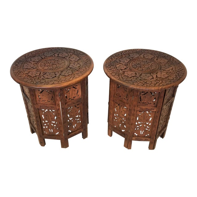 Hand Carved Anglo-Indian Folding Tables - A Pair For Sale