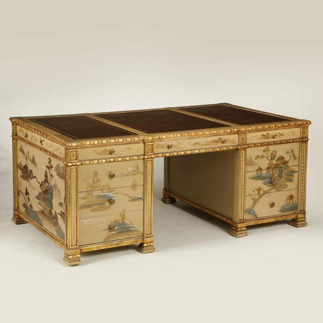 Chinoiserie Hand-Painted Parcel Gilt Partners Pedestal Desk For Sale - Image 9 of 12