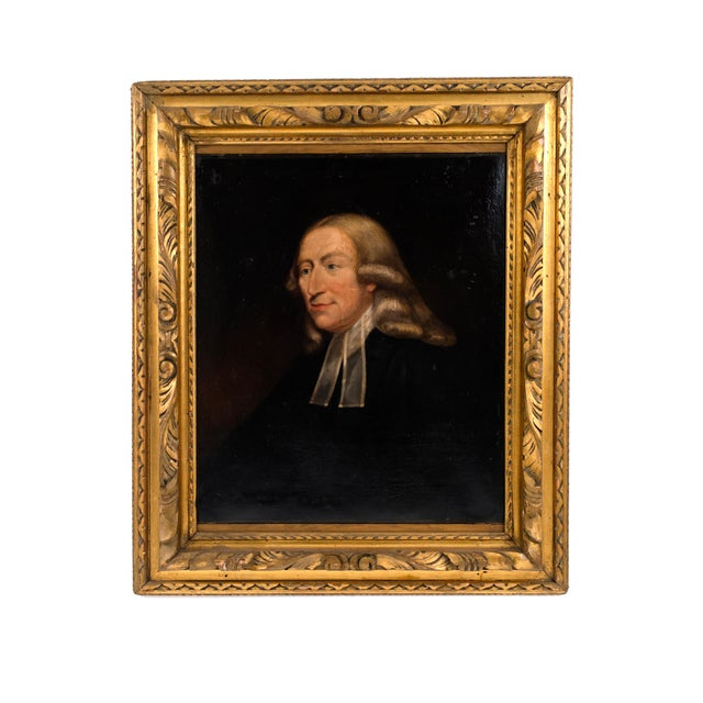 English Georgian gilt framed oil portrait painting of 18th Century man in black with long hair