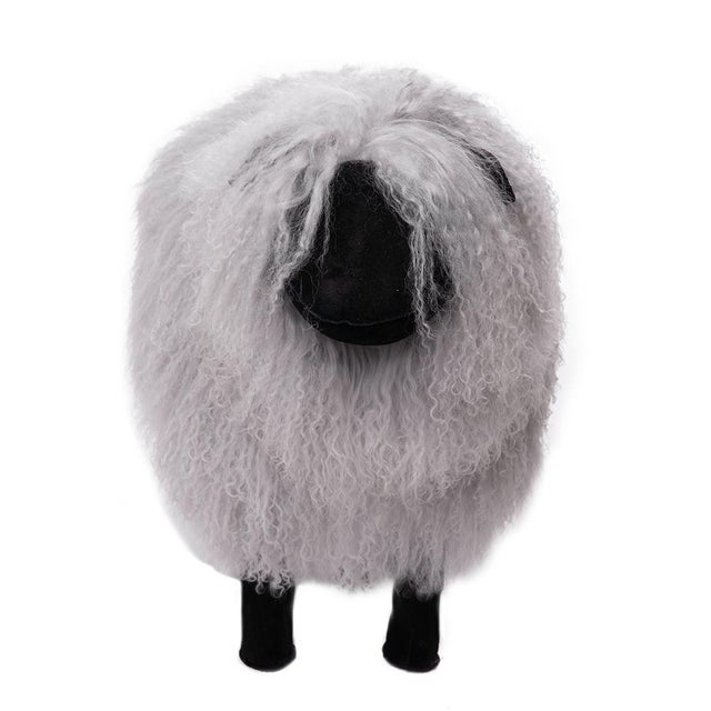 100 % Pure Tibetan Lamb Sheep Dyed Grey Size Medium (Large also available) Hand-Made Add this great furry sheep to your...