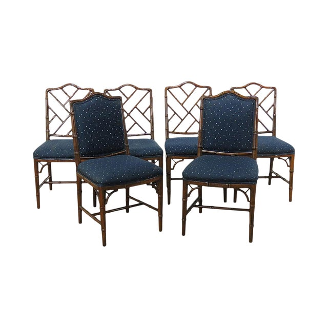 Hollywood Regency Style Faux Bamboo Dining Chairs - Set of 6 For Sale