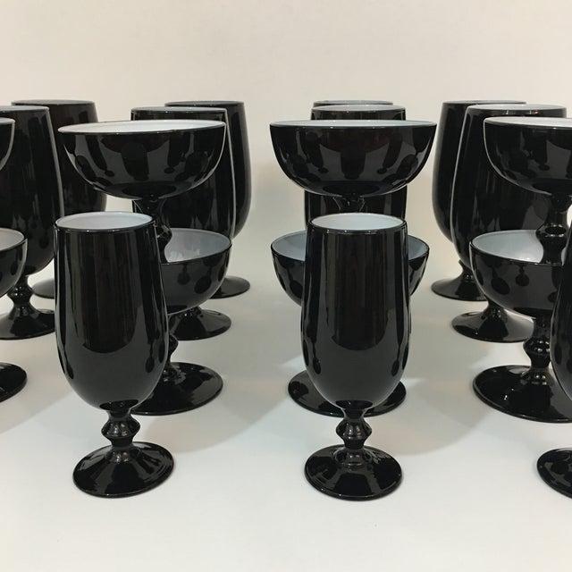 Carlo Moretti Vintage Carlo Moretti Black and White 20 Piece Glassware Set For Sale - Image 4 of 13