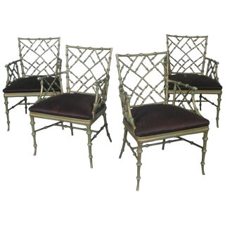 1960s Vintage Phyllis Morris Metal Bamboo Armchairs - Set of 4 For Sale