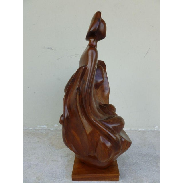 1970s Mid Century Modern Biomorphic Burl Wood Sculpture of Madonna and Child For Sale - Image 4 of 12