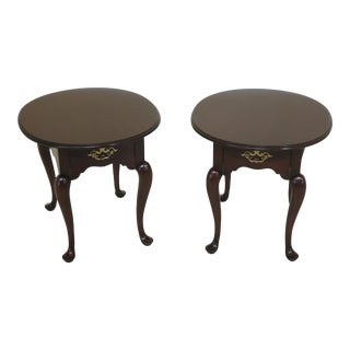 Queen Anne Statton Oval Cherry 1 Drawer End Tables - a Pair For Sale