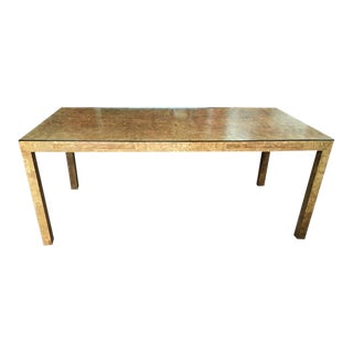 1970s Milo Baughman Burl Wood Parsons Dining Table or Partners Desk For Sale