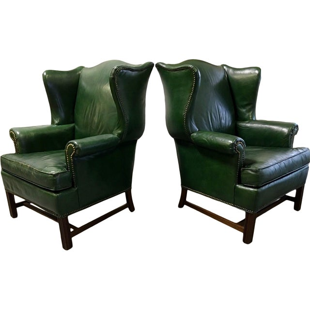 Vintage Green Leather Wingback Chairs - A Pair For Sale