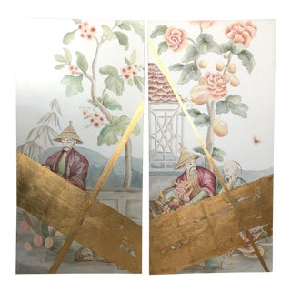 """The Neighbor"" and ""The Gardener"" Chinoiserie Diptych Painting - 2 Pieces For Sale"