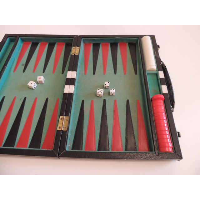Art Deco Vintage Black, Green and White Backgammon Game For Sale - Image 3 of 5
