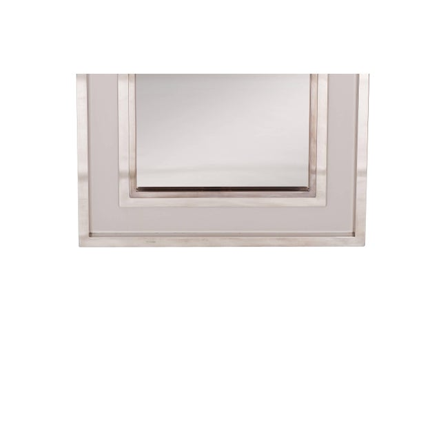 Chrome Large Chromed Maison Jansen Mirror For Sale - Image 7 of 8