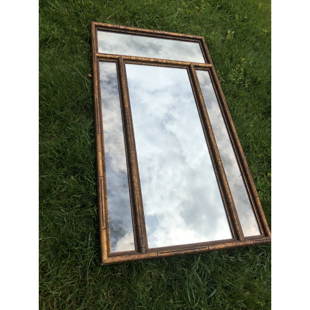 """Large 48"""" Chinoiserie Gold Faux Bamboo Mirror W Surrounding Smoked Mirrors-See Pictures For Sale - Image 4 of 10"""