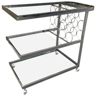 Three-Tier Chrome Bar Cart For Sale