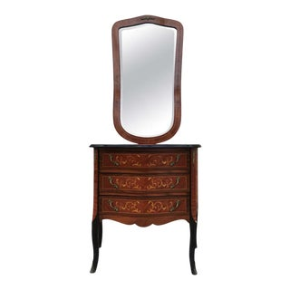 Louis XVI Style Kingwood and Marquetry Commode With Mirror For Sale