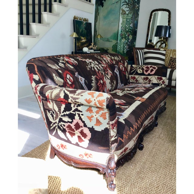 George Smith Antique French Serpentine Sofa Upholstered in Antique Karabagh Peacock Kilms For Sale - Image 4 of 13