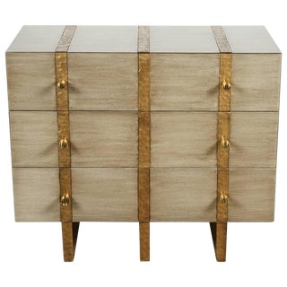 Paul Marra Three-Drawer Banded Chest in Bleached Oak and Inset Iron Band For Sale