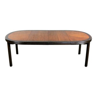 Drexel Ming Style Faux Bamboo Dining Table Two Toned Finish & Two Leaves For Sale