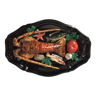 Large Oval Majolica Palissy Lobster and Fish Wall Platter Vallauris, Circa 1950 For Sale
