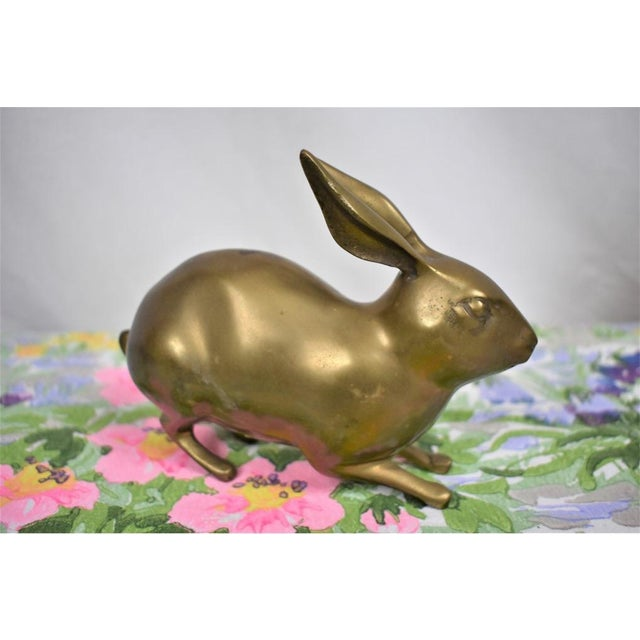 Farmhouse 1980s Brass Rabbit Figurine For Sale - Image 3 of 4