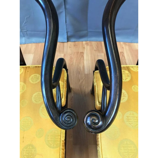Yellow Chinese Rosewood Horseshoe Chow Chairs, 1920s - A Pair For Sale - Image 8 of 10