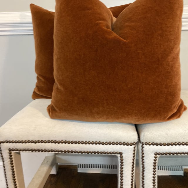 "Mohair Velvet in Spice 22"" Pillows-A Pair For Sale In Greensboro - Image 6 of 8"