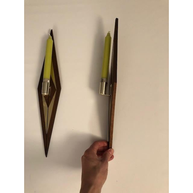 1970s 1970s Mid-Century Modern Candle Wall Sconces - a Pair For Sale - Image 5 of 7