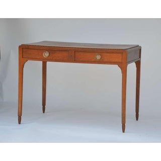Chic Sandblasted Oak Desk or Writing Table in the Style of Jean-Michel Frank Preview