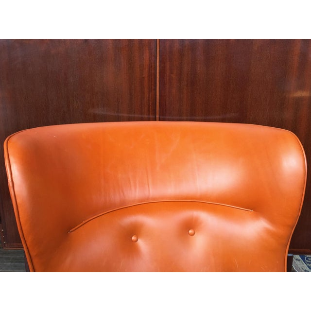 1940s 1940s Leather Wingback Armchair Attributed to Frits Henningsen For Sale - Image 5 of 12