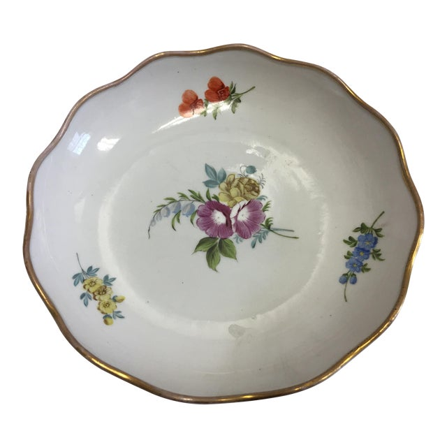 Gold Rim Porcelain Floral Dish For Sale