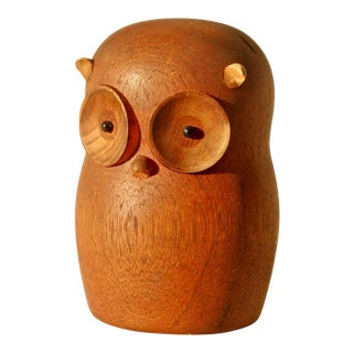 Laurids Lonborg Denmark Carved and Turned Wood Owl For Sale