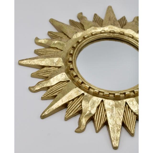 Mid Century Modern Gold Sunburst Mirror For Sale - Image 4 of 13