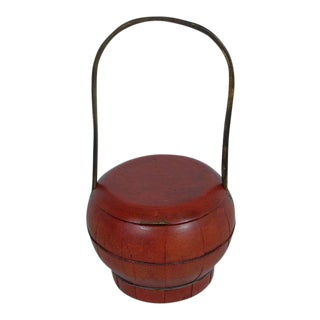 Chinese Antique Red Wooden Water Bucket