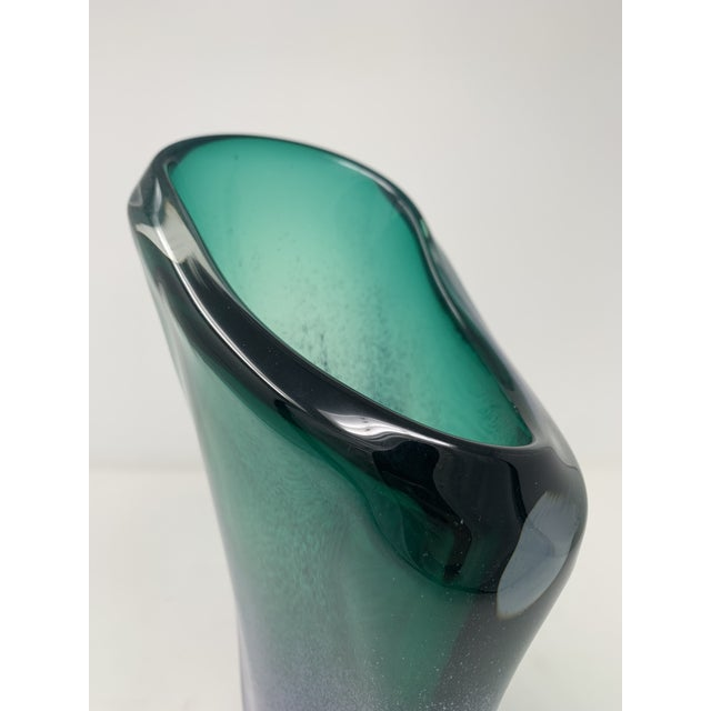 Glass Late 20th Century Asymmetric Speckled Murano Glass Vase For Sale - Image 7 of 12