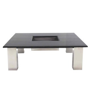 Square Granite Top Coffee Table with Center Planter For Sale