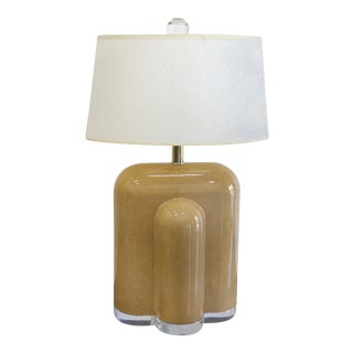 Lacquered Goat Skin & Lucite Table Lamp, 1975