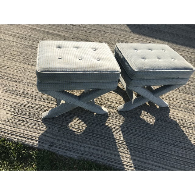 1970s 1970s Vintage Billy Baldwin Upholstered X Base Ottomans- A Pair For Sale - Image 5 of 8