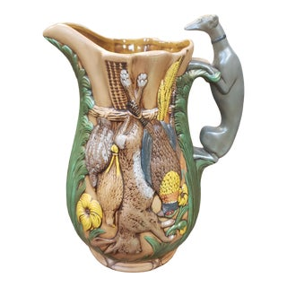 Vintage 1972 Ceramic Raised Relief Hunting Game Raised Relief Motifs Pitcher For Sale