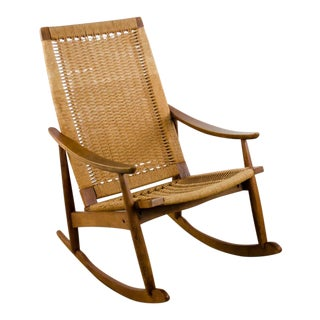 1970s Danish Modern Hans Wegner Rope Rocking Chair