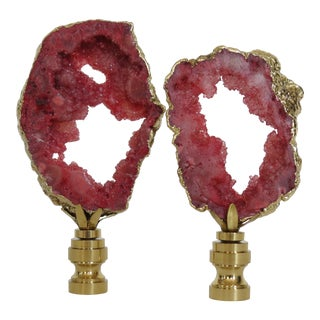 14kt Gold Banded Raspberry Coral Geode Finials, Pair by C. Damien Fox For Sale