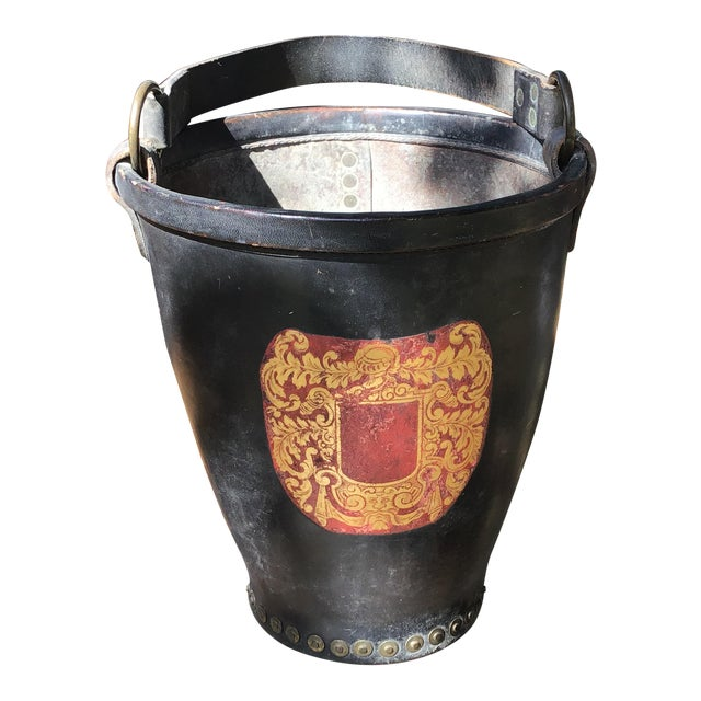 Leather Fire Bucket With Brass Rivets and Crest For Sale