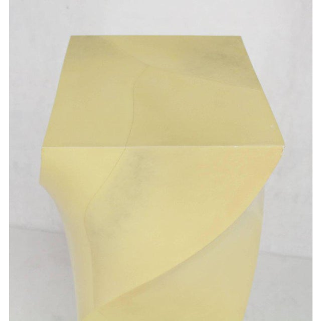 Mid 20th Century Twisted 14x14 Square Pattern Faux Goatskin Finish Modern Pedestal Stand For Sale - Image 5 of 11