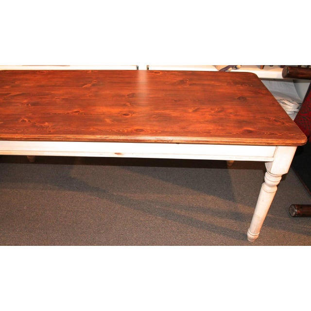 1990s Fantastic 20th Century Handmade and White Painted Base Harvest Table For Sale - Image 5 of 8